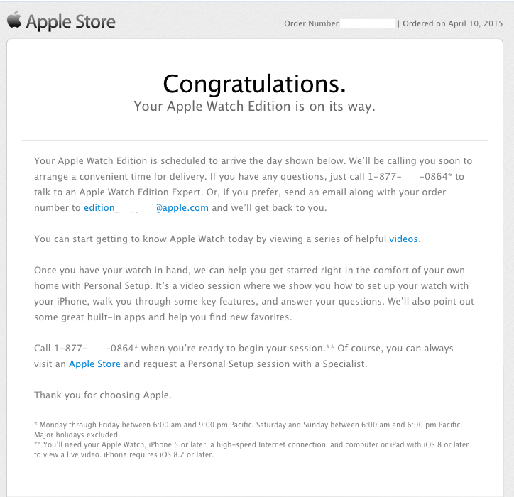 Apple Watch Delivery Confirmation